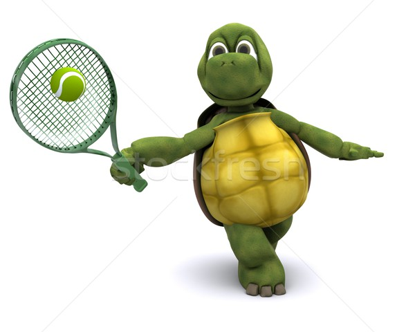 Tortoise playing tennis Stock photo © kjpargeter