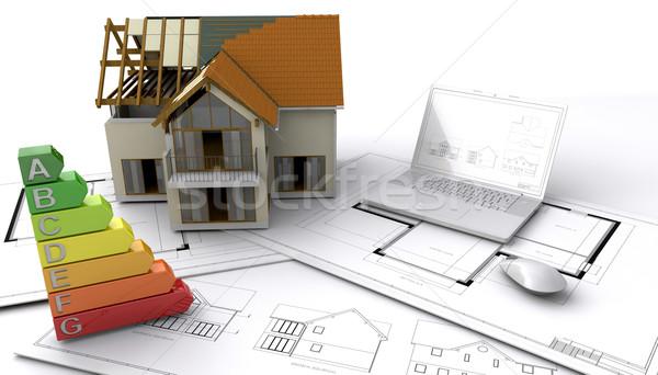 építkezés kortárs stílus ház számítógép toll Stock fotó © kjpargeter
