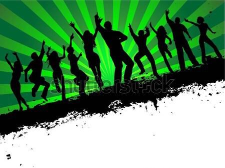Grunge parti arka siluetleri insanlar dans Stok fotoğraf © kjpargeter