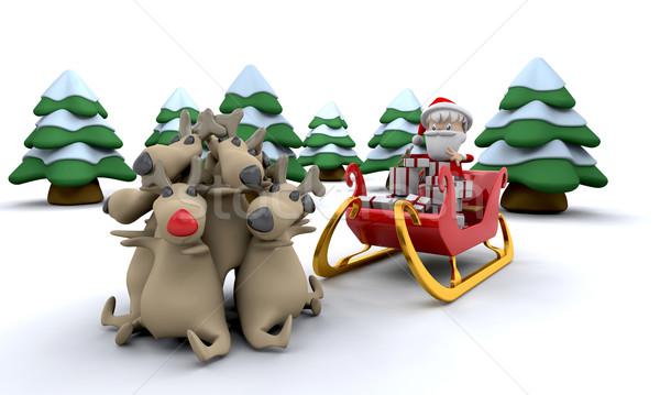 santa and gifts Stock photo © kjpargeter