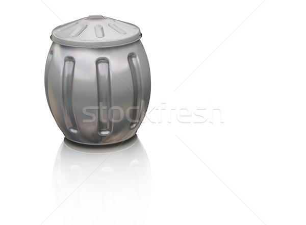 Completo cesto de lixo 3d render branco lixo reciclar Foto stock © kjpargeter