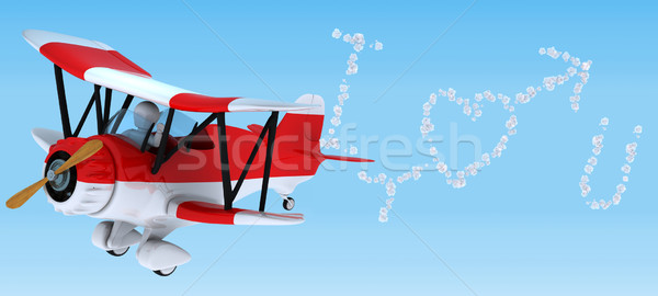 Man sky writing in a biplane Stock photo © kjpargeter