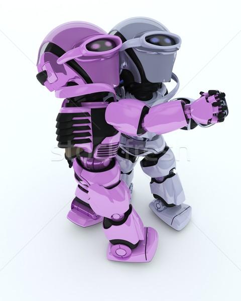 Taniec towarzyski 3d człowiek taniec robot Zdjęcia stock © kjpargeter