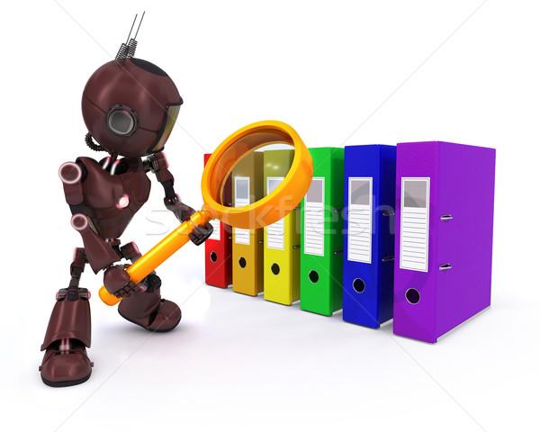 Android zoeken bestanden 3d render man documenten Stockfoto © kjpargeter