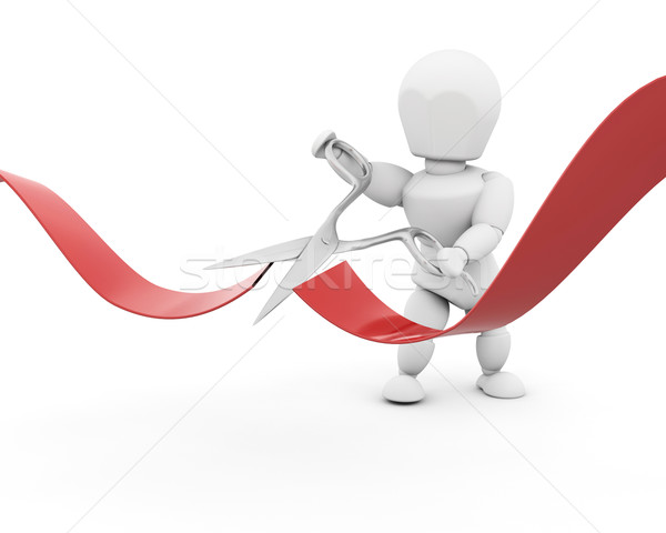 man cutting red ribbon with scissors Stock photo © kjpargeter