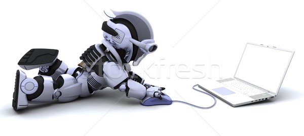 robot with a computer and mouse Stock photo © kjpargeter