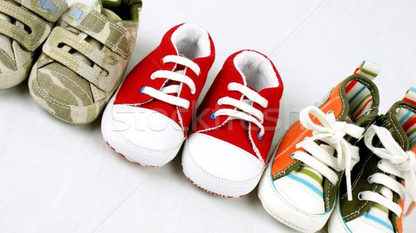 Babacipők vonal felfelé baba cipők fiú Stock fotó © kjpargeter