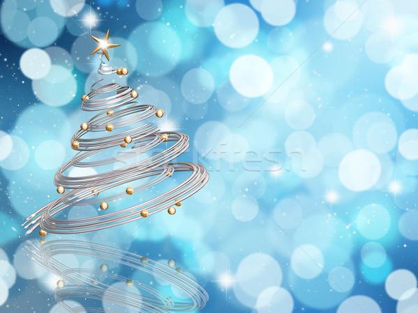 Karácsonyfa elmosódott fény hatás háttér csillag Stock fotó © kjpargeter