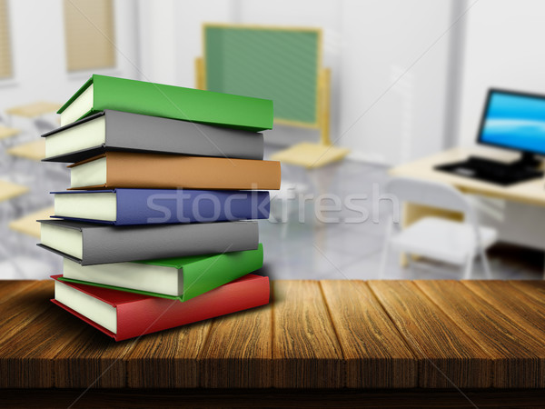 Wooden table and books with defocussed classroom image Stock photo © kjpargeter