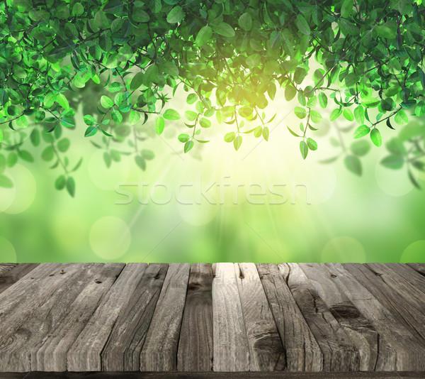 3D tabeli okap światło słoneczne 3d drewniany stół Zdjęcia stock © kjpargeter