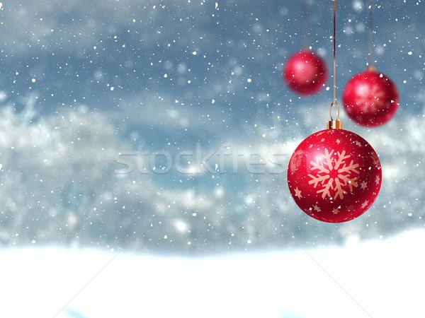 Defocussed winter landscape with hanging baubles Stock photo © kjpargeter