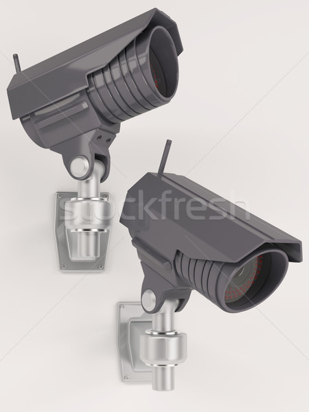 Cctv güvenlik kamera 3d render teknoloji güvenlik bakmak Stok fotoğraf © kjpargeter