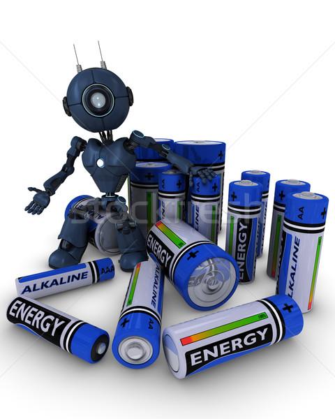 Android batterijen 3d render man energie macht Stockfoto © kjpargeter