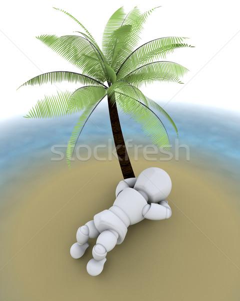 Foto stock: Homem · ilha · palmeira · 3d · render · deserto · verão