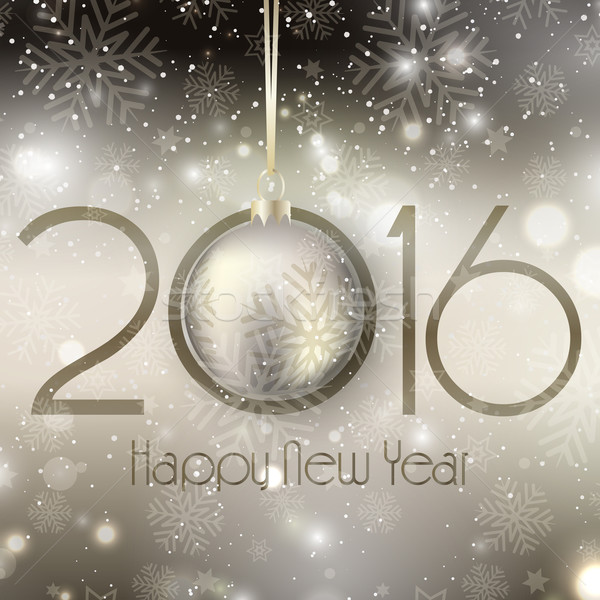 Happy New Year background with hanging bauble  Stock photo © kjpargeter