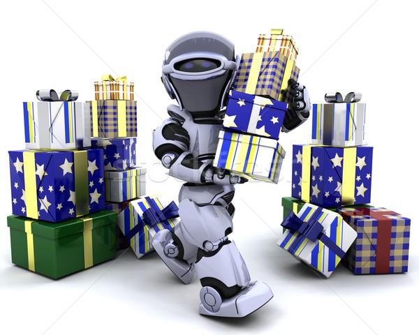 ストックフォト: ロボット · ビッグ · スタック · 贈り物 · 3dのレンダリング · 将来