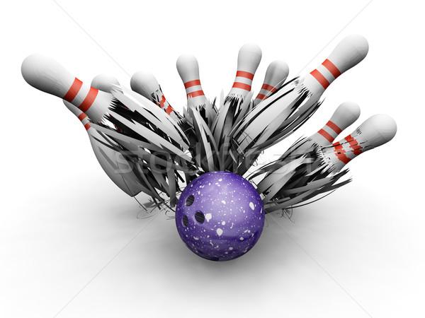 Bowling ball smashing into pins Stock photo © kjpargeter