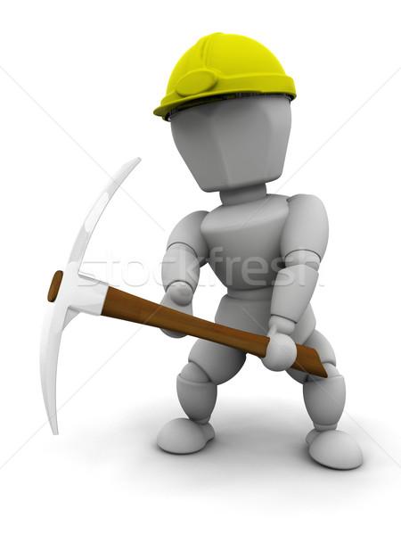 Stock fotó: Utasítás · munkás · 3d · render · nő · munka · kalap