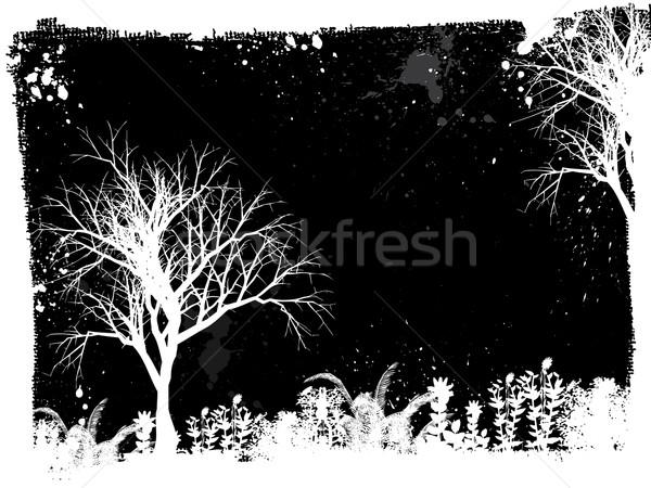 Сток-фото: Гранж · дерево · силуэта · завода · вектора · иллюстрация