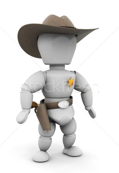 Sheriff 3d render fegyver személy férfi tárgy Stock fotó © kjpargeter