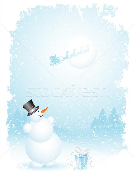 雪だるま サンタクロース 幸せ ツリー 抽象的な 雪 ストックフォト © kjpargeter