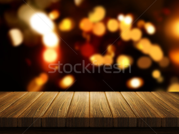 Wooden table with defocussed Christmas bokeh lights Stock photo © kjpargeter