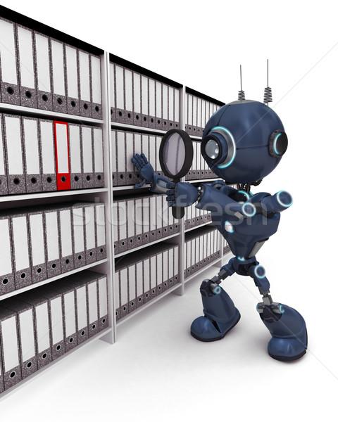 Android keres iratok 3d render iroda robot Stock fotó © kjpargeter