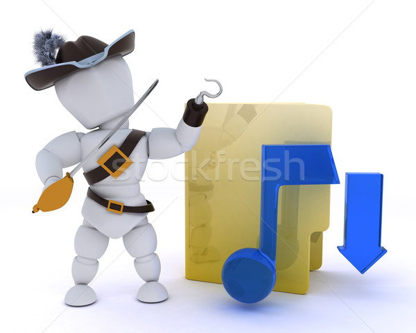 pirate depicting illegal music download Stock photo © kjpargeter