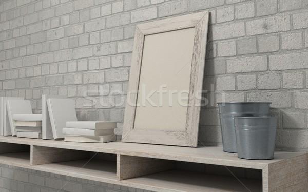 white interior bookshelf Stock photo © kjpargeter
