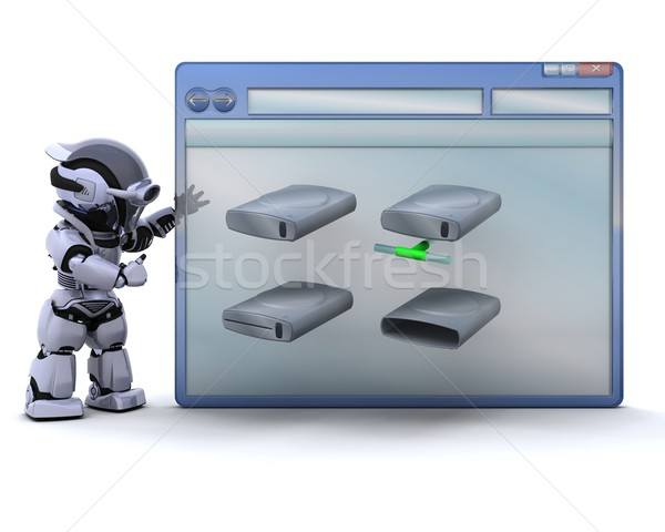 robot with computer window and drive icons Stock photo © kjpargeter