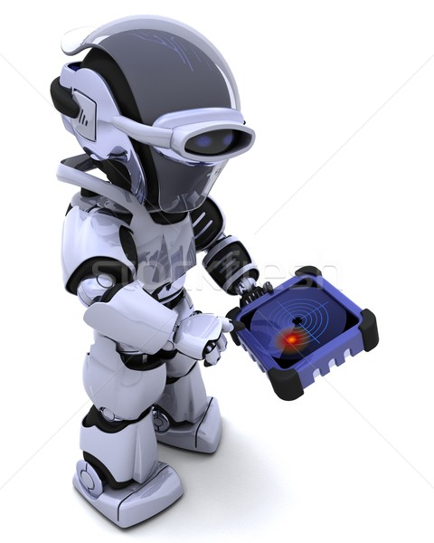 robot with GPS radar tracker Stock photo © kjpargeter