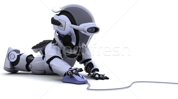 Robot computermuis 3d render kantoor werk kabel Stockfoto © kjpargeter