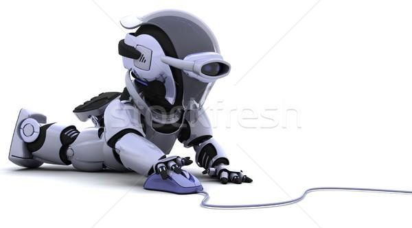 Robô mouse de computador 3d render escritório trabalhar cabo Foto stock © kjpargeter