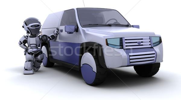Foto stock: Robô · suv · carro · 3d · render · natureza · futuro