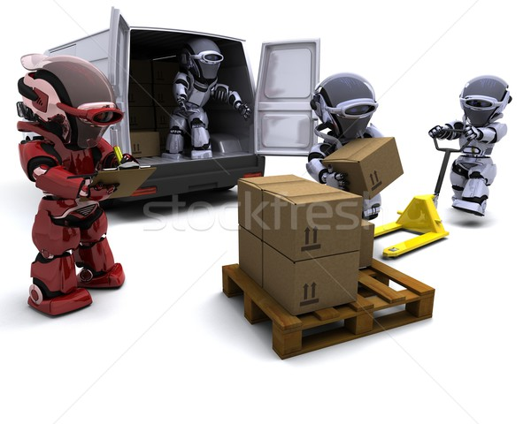 Robot with Shipping Boxes loading a van Stock photo © kjpargeter