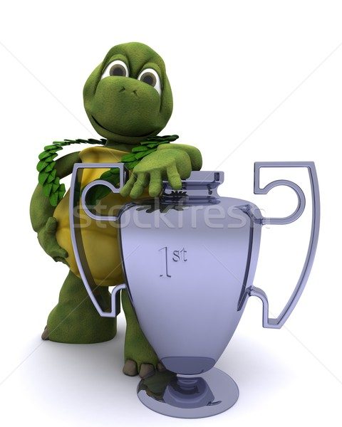 Tortoise with a winners trophy Stock photo © kjpargeter