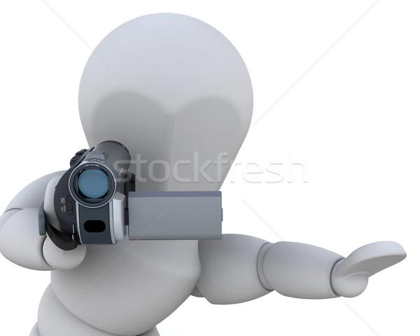 Сток-фото: 3D · видеокамерой · 3d · человек · изолированный · белый · человека