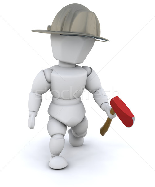 Firefighter with an axe Stock photo © kjpargeter