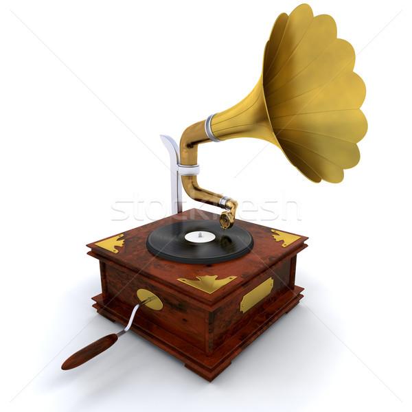 Gramofone 3d render retro registro toca disco Foto stock © kjpargeter
