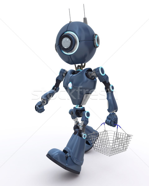 Android shop robot basket buy Foto d'archivio © kjpargeter