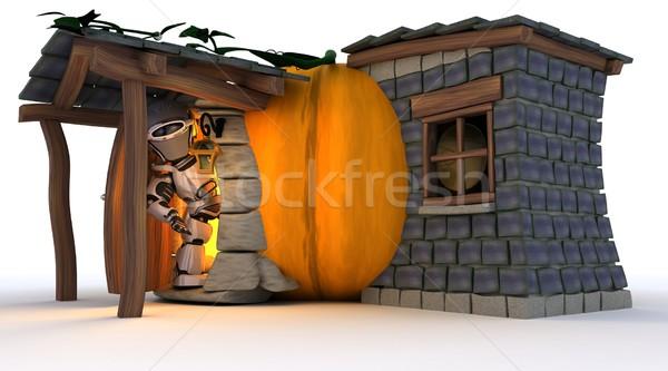 Robot halloween tök kunyhó 3d render férfi narancs Stock fotó © kjpargeter