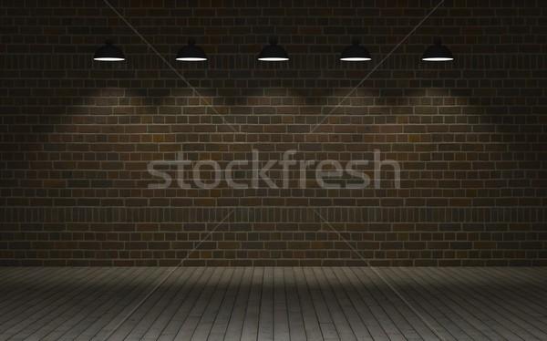 Exposé mur de briques rendu 3d mur entrepôt saleté Photo stock © kjpargeter