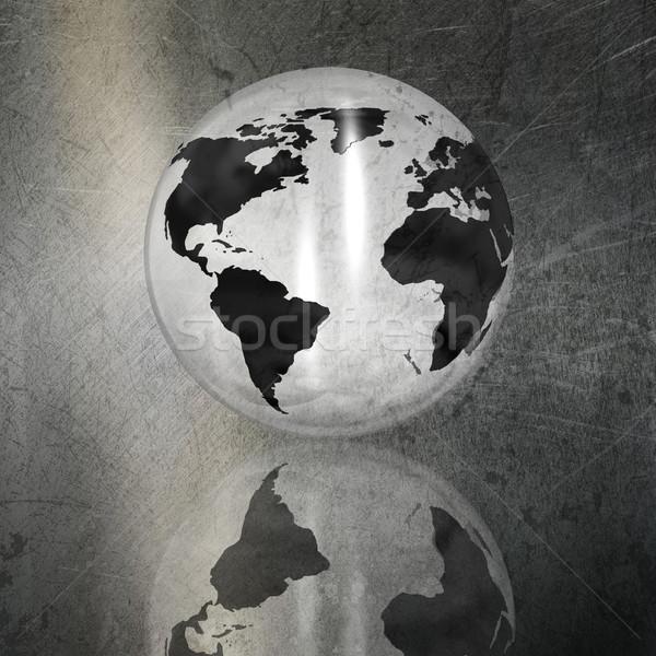 Globe on a grunge brushed metal background Stock photo © kjpargeter