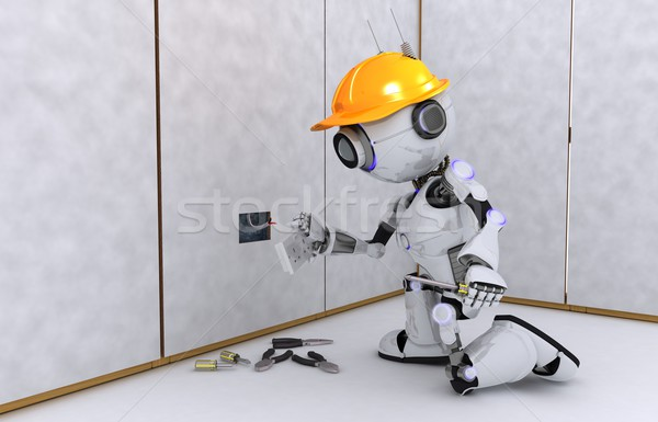 Stok fotoğraf: Robot · elektrikçi · 3d · render · elektrik · adam