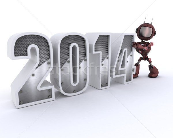 Android bringing in the new year Stock photo © kjpargeter