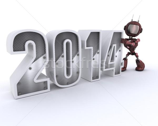 Androide año nuevo 3d tecnología robot nuevos Foto stock © kjpargeter
