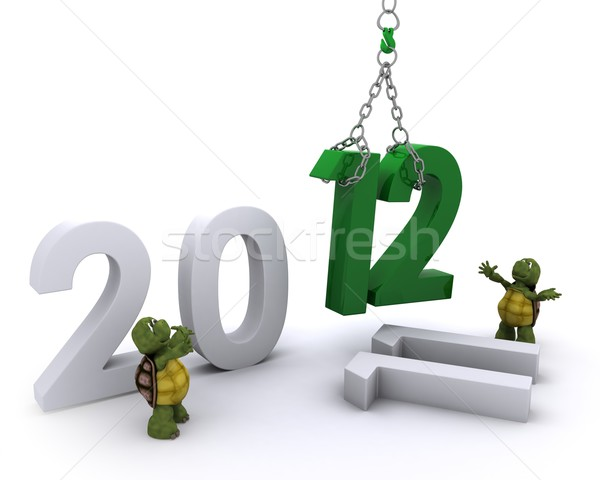 Tortoise Bringing the new year in Stock photo © kjpargeter