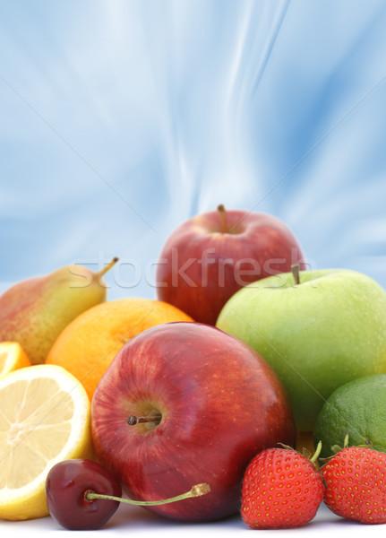 Stockfoto: Vers · fruit · display · abstract · Blauw · voedsel · gezondheid