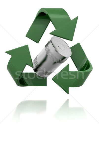 Photo stock: 3D · recyclage · signe · symbole · isolé · blanche