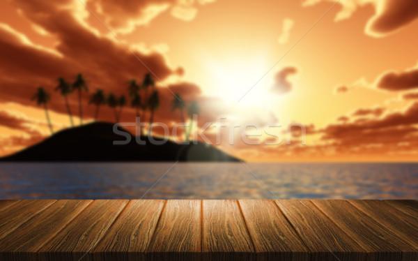3D fa asztal néz ki pálmafa 3d render Stock fotó © kjpargeter